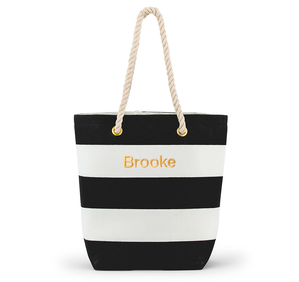Bliss Striped Bridesmaid Tote Bag Black White