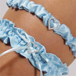 Blue Crush Wedding Garter & Tossing Garter Set