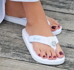 White Wedding Honeymoon Bride Flip Flops