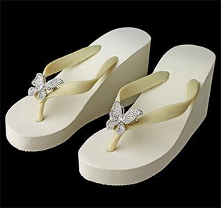 4f57e4e87125e Butterfly Rhinestone Wedge Bridal Flip Flops - Ivory