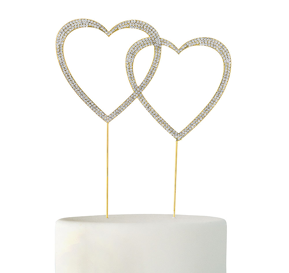 Crystal Rhinestone Gold Double Heart Cake Topper| Heart Wedding Cake ...