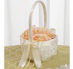 White and Ivory Chantilly Lace Flower Girl Basket