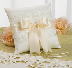 White and Ivory Chantilly Lace Wedding Ring Bearer Pillow