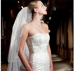 Continuous Pearl Boarder Edge Wedding Bridal Veil in White