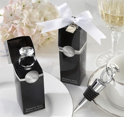 With this Ring Chrome Wedding Diamond Ring Bottle Stopper