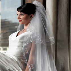 Embroidered Border White Wedding Bridal Veil