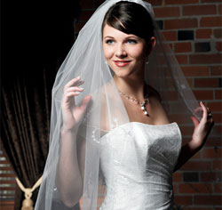 Floral Embroidered Border & Cut Edge Wedding Bridal Veil in White