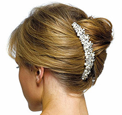 Ivory Pearls & Crystal Flowers Hair Comb for Wedding or Prom Updo