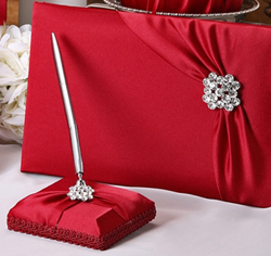 Red Garbo Wedding Guest Book and Pen Holder Set with Crystal/ Rhinestone Brooch
