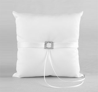 Glamour White or Ivory Wedding Ring Bearer Pillow