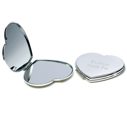 Personalized Wedding Favors Silver Plated Classic Heart Compact Mirror
