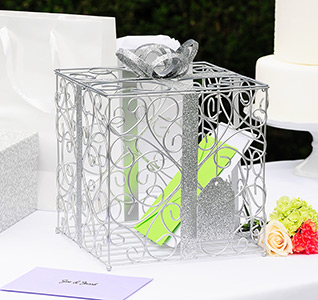 Silver Holiday Wedding Card Holder