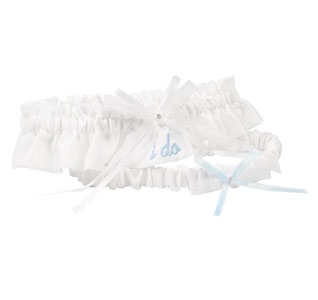 I Do White Wedding Garter and Tossing Garter Set