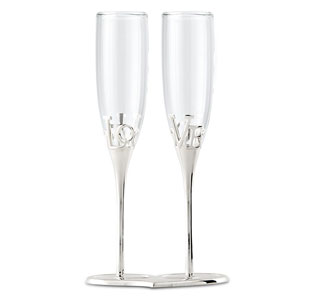 Silver Love Stem Champagne Holder and Glasses for Bride and Groom Wedding Toasting Flutes