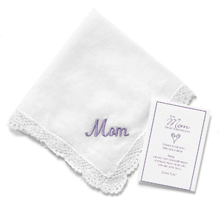 Mom of the Bride or Groom White Wedding Handkerchief