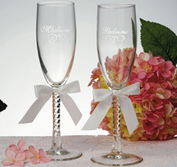 Padrino and Madrina White Toasting Glasses
