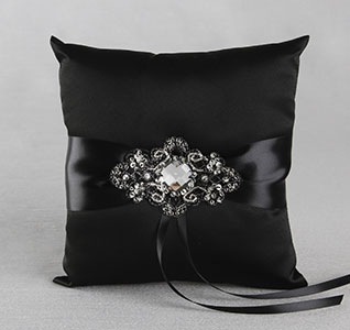 Elizabeth Black Wedding Ring Bearer Pillow with Black and Gold Ribbon and Beads