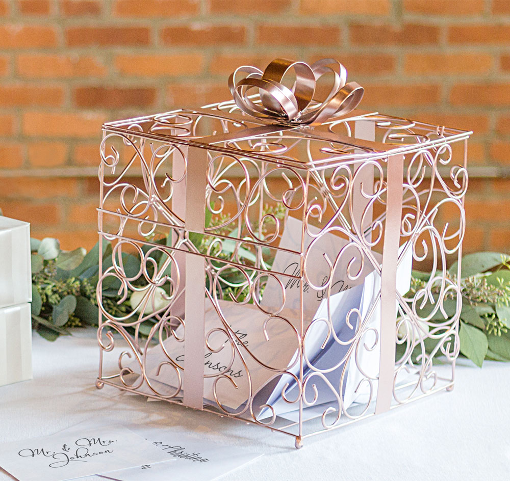 Rose Gold Wedding Card Holder: Unique Wedding Card Containers At Websimilar.org