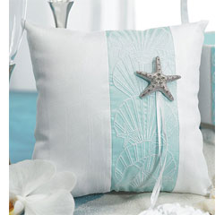 Seaside Allure White and Aqua Blue Wedding Ring Bearer Pillow with Starfish