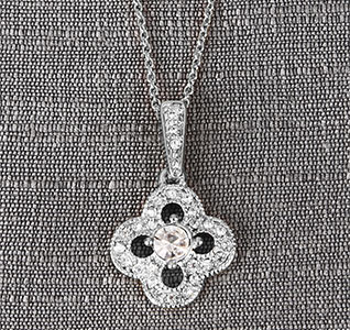 Silver Crystal/Rhinestones Clover Drop Pendent Necklace