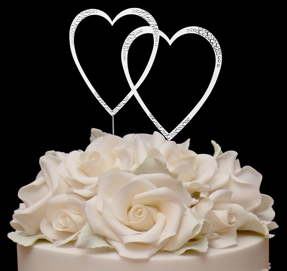 Awesome Swarovski Crystal Sparkle Double Heart Cake Topper