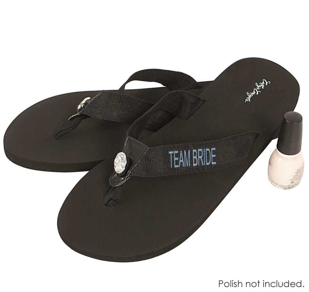 44ff9967b6a196 Team Bride Flip Flops - Black