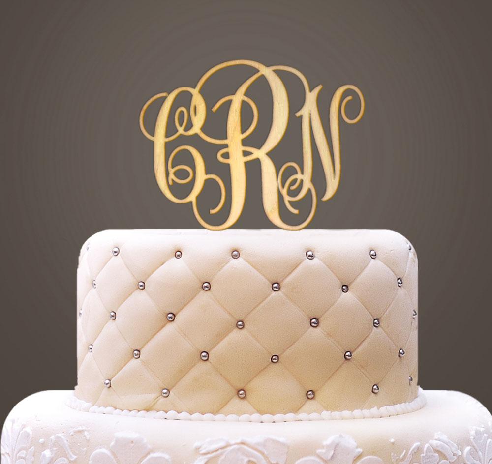 Monogram Wooden Wedding Cake Topper   Wedding Cake Top