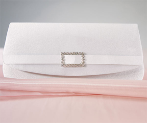 White Satin Crystal Buckle Wedding or Prom Evening Bag