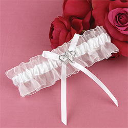 With All My Heart White Wedding Bridal Garter