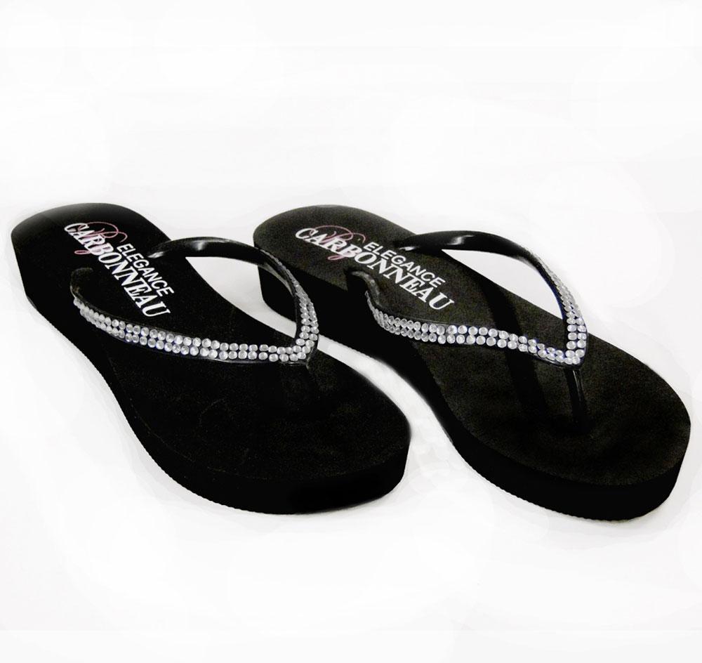 42c7239f5865 Crystal Low Wedge Bridal Flip Flops - Black