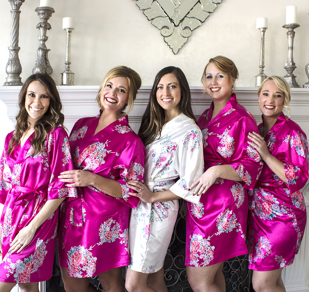 Bridal Party Floral Satin Robe with Initial 6ce972dec