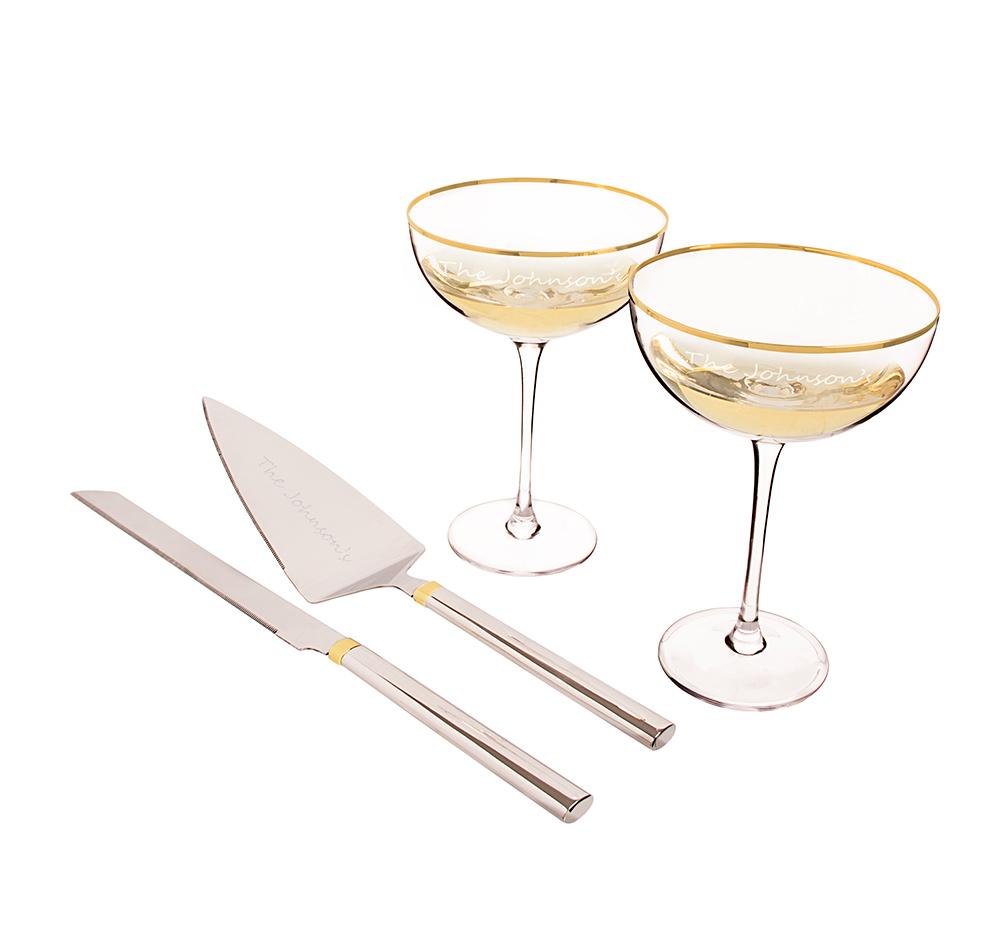 Gold Rimmed Wedding Flutes & Cake Server | Gold Rim Flutes & Serving Set