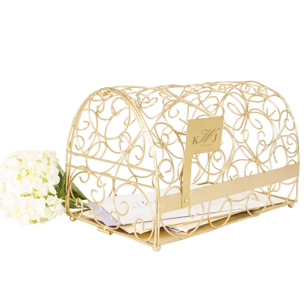 Gold Monogram Wedding Mailbox | Wedding Card Holder