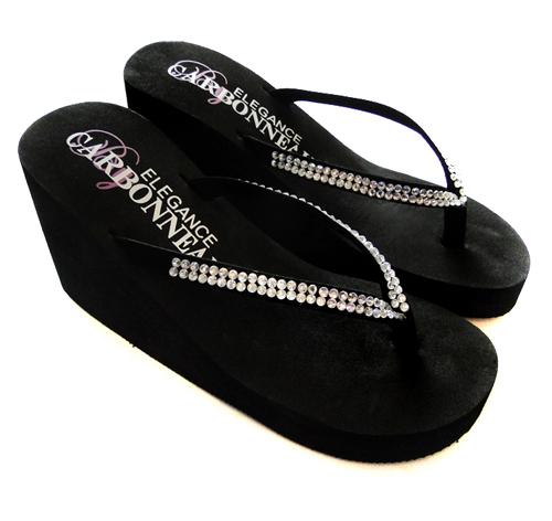 350c99e85 Crystals High Wedge Bridal Flip Flops - Black