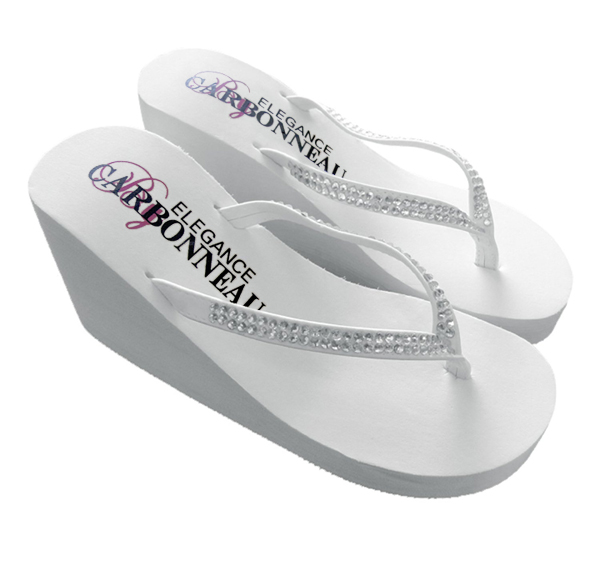 fc42b3c96 Crystals High Wedge Bridal Flip Flops - White