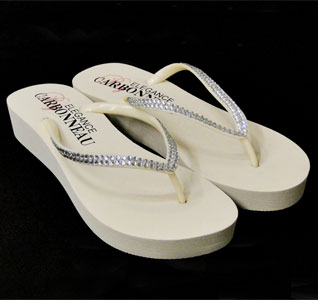 9e6dc47dd66249 Crystal Low Wedge Bridal Flip Flops - Ivory