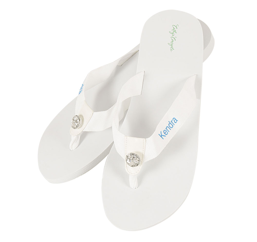 521520b657e Personalized White Wedding Flip Flops