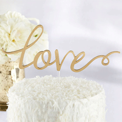 Gold Love Wedding Cake Topper