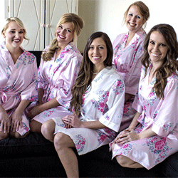 Bridal Party Floral Satin Robes