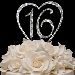 Crystal Heart Number Cake Top